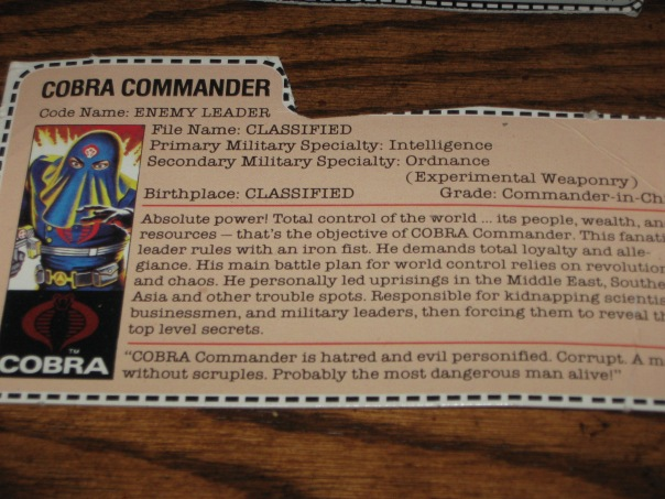 One of the crown jewels from my GI Joe collection as a kid, the mail order Hooded Cobra Commander figure.  I wish I knew where this figure was today!