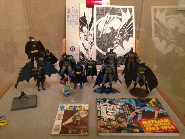 Various Bat-men (and Bartman) of the action figure world.