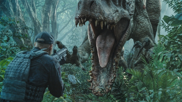 "The Indominus rex readies her attack in ""Jurassic World"".  Steven Spielberg returns to executive produce the long-awaited next installment of his groundbreaking ""Jurassic Park"" series.  Colin Trevorrow directs the epic action-adventure, and Frank Marshall and Patrick Crowley join the team as producers."